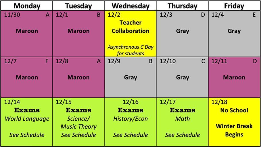 US Schedule Nov30-Dec18