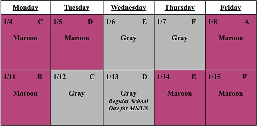 Schedule Jan 4-15
