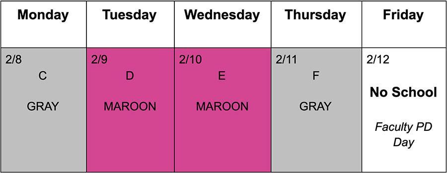 Schedule Feb 8-12