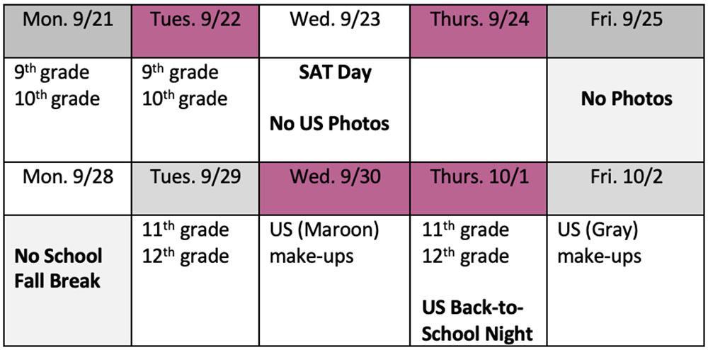 US Photo Schedule