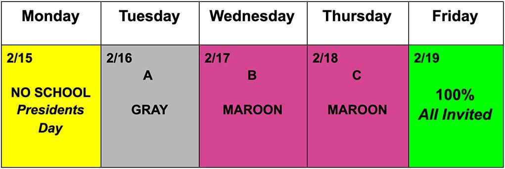 Schedule Feb 15-19