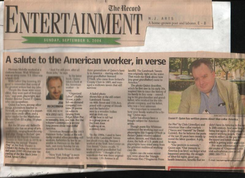 Daniel P Quinn profiled in The Begen Record