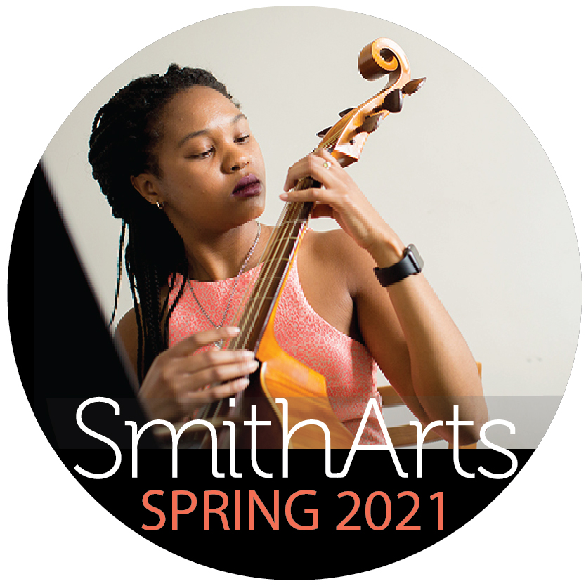A young woman practices fingering on a cello with the words SmithArts Spring 2021