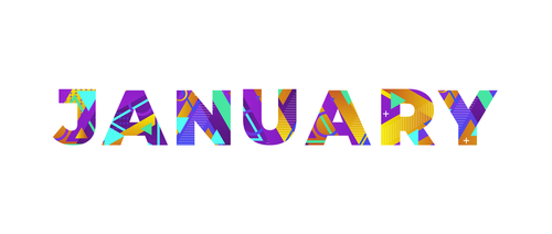 The word JANUARY concept written in colorful retro shapes and colors ill...
