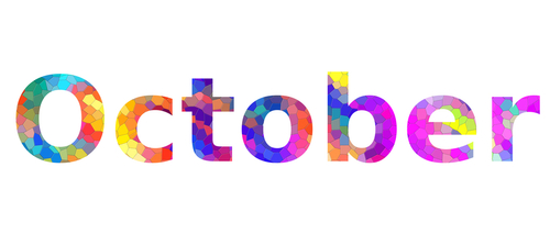 October. Colorful typography text banner. Image the October word design....