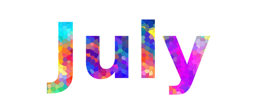 July. Colorful typography text banner. Image the July word design. Can b...