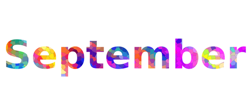 September. Colorful typography text banner. Image the september word des...