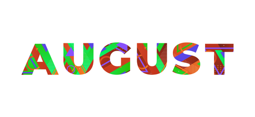 The word AUGUST concept written in colorful retro shapes and colors illu...