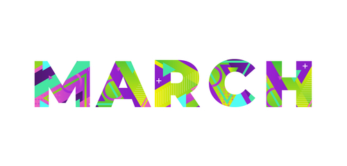 The word MARCH concept written in colorful retro shapes and colors illus...