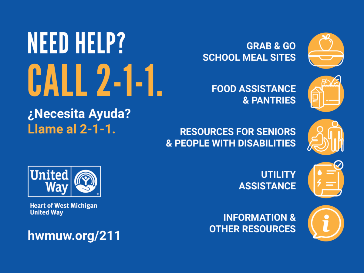 Social media graphic encouraging people who need help to call 2-1-1 to be connected with resources.