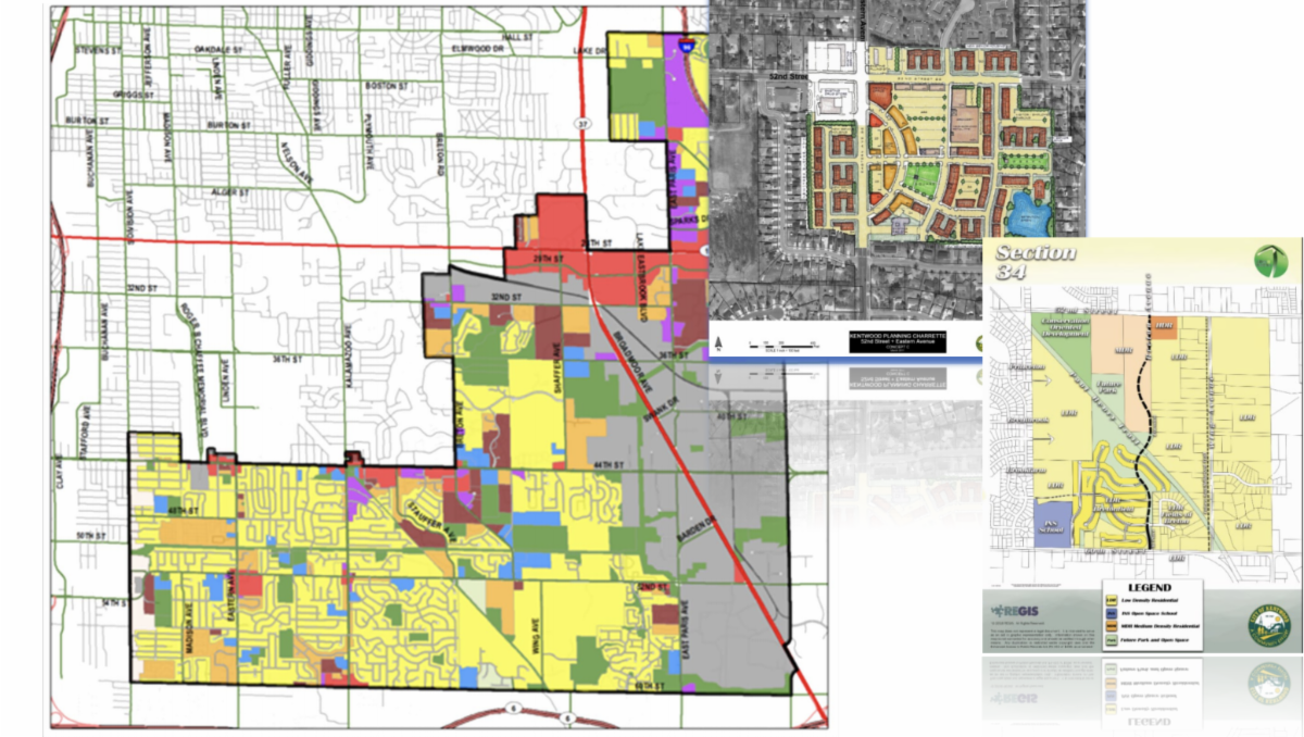 Part of the Kentwood Master Plan Update cover page featuring various zoning maps.