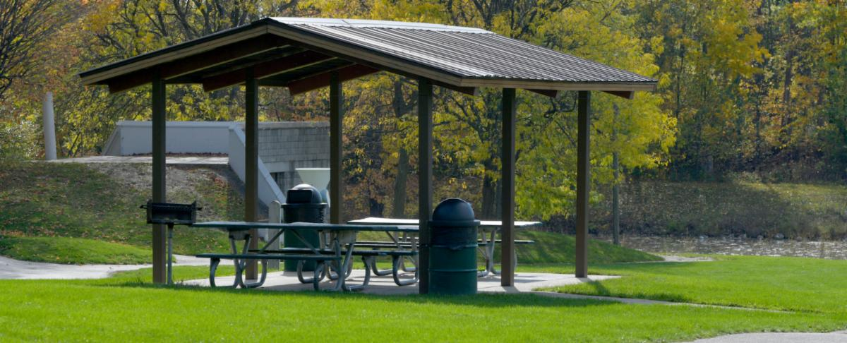 Old Farm Park shelter in fall