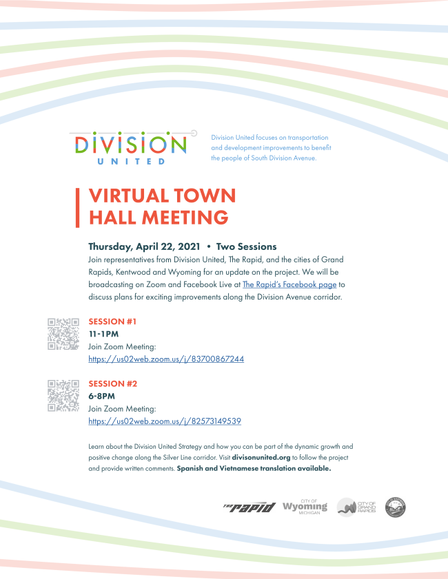 Flyer for the Division United Virtual Town Hall Meetings on April 22