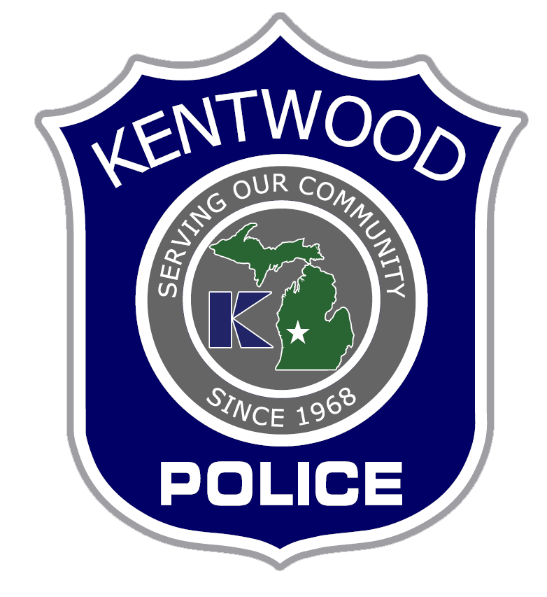 """Kentwood Police patch featuring text that says, """"Serving our community since 1968."""""""