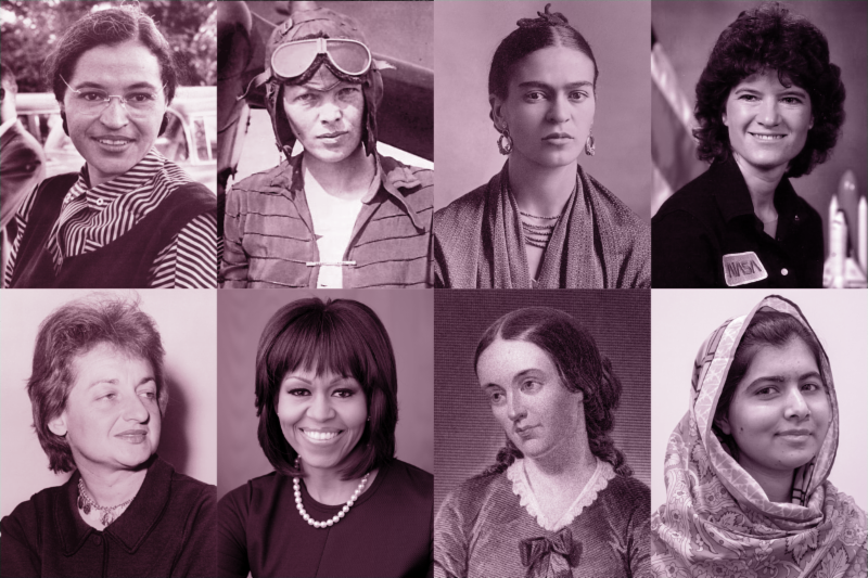 [PHOTO] 8 iconic female leaders; Rosa Parks, Amelia Earhart, Frida Kahlo, Sally Ride, Betty Friedan, Michelle Obama, Margaret Fuller and Malala Yousafzai