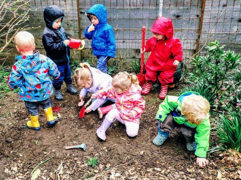 colorful, children, group, raincoats