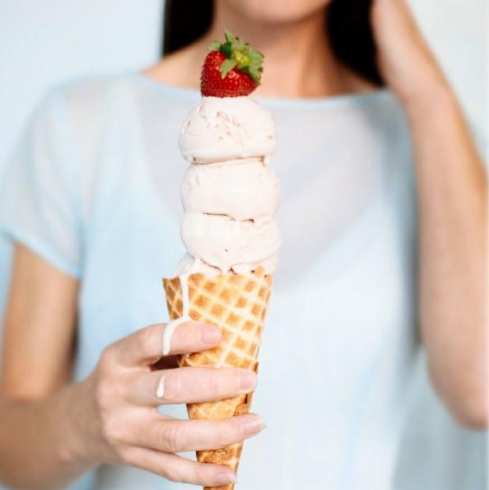 Three Twins strawberry ice cream