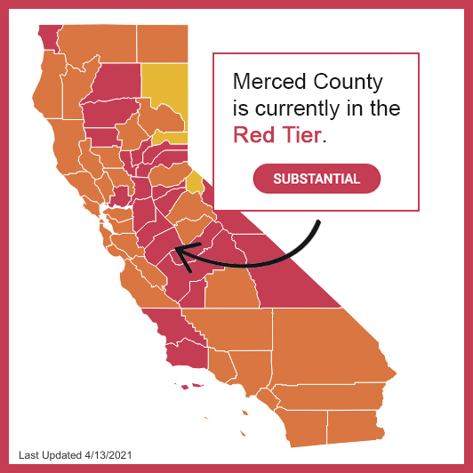 Merced County in Red Tier