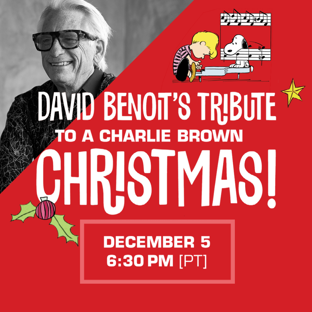 David Benoit's Tribute to A Charlie Brown Christmas on December 5. David Benoit with large glasses and black top. On a red background is Peanut's characters Schroeder and Snoopy are on a piano.