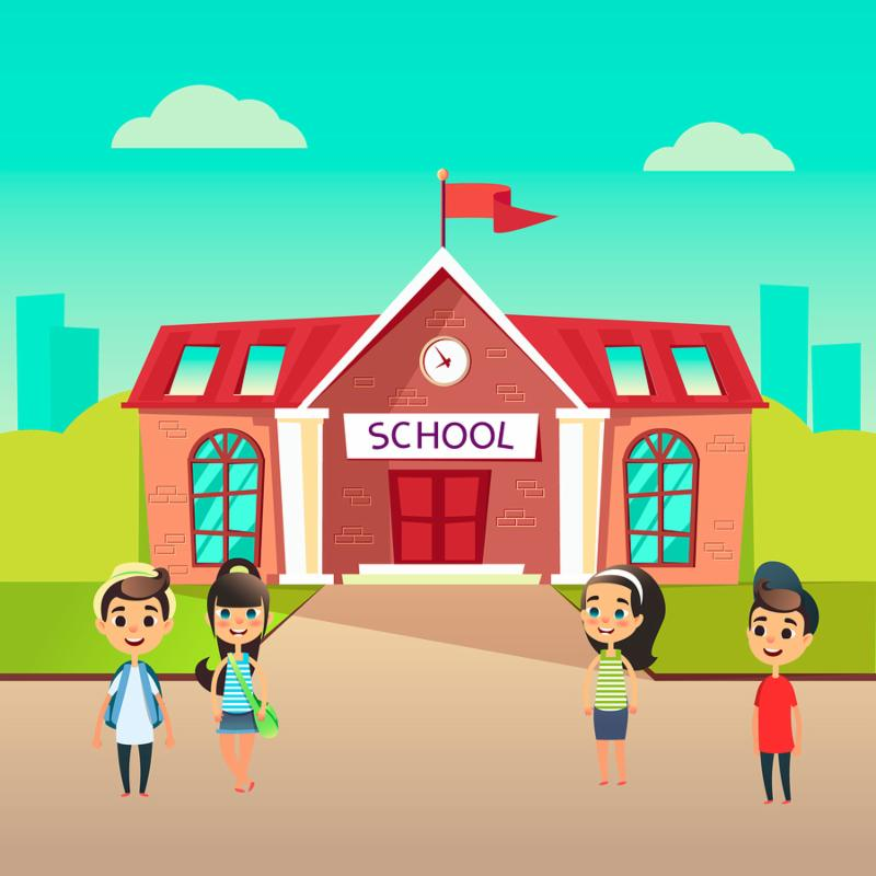 Group of pupils go to school together. Students talking in front of building schoolhouse. Welcome Back to school concept. Schoolboys and schoolgirls came to learn. The first day at school