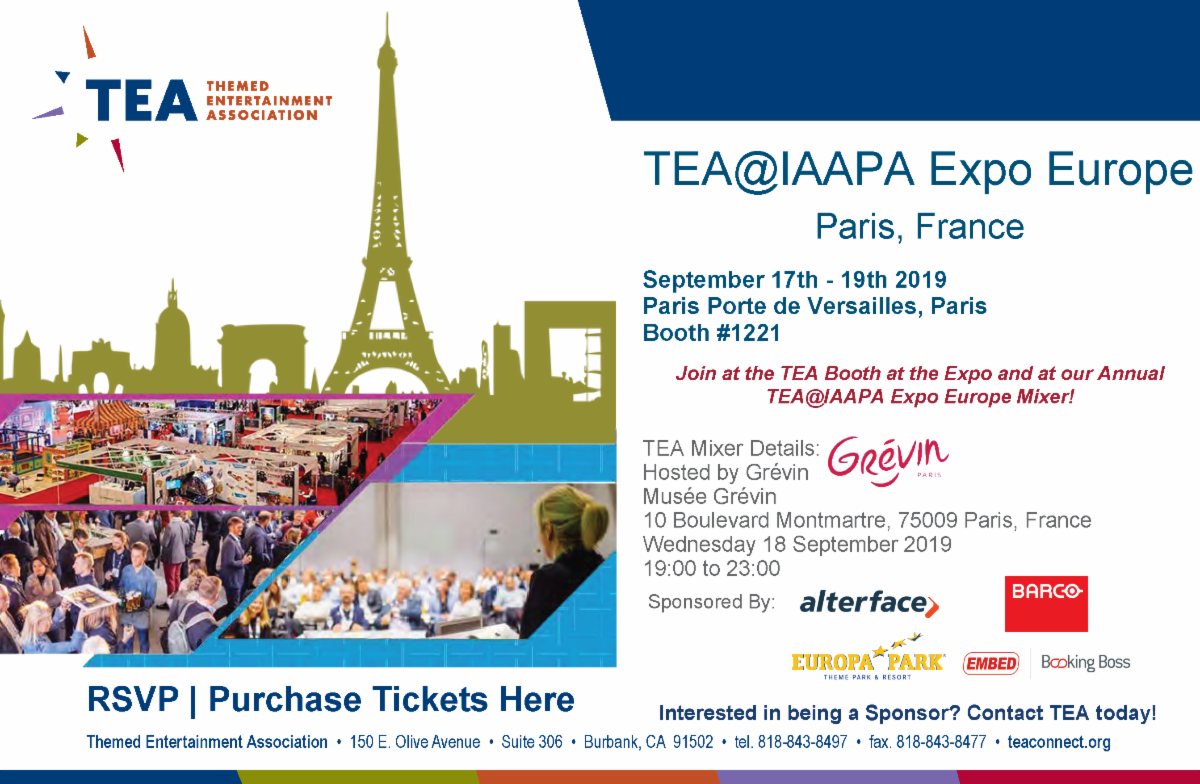 Connect with TEA at IAAPA Expo Europe 2019