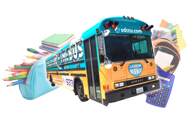 bus and school supplies montage