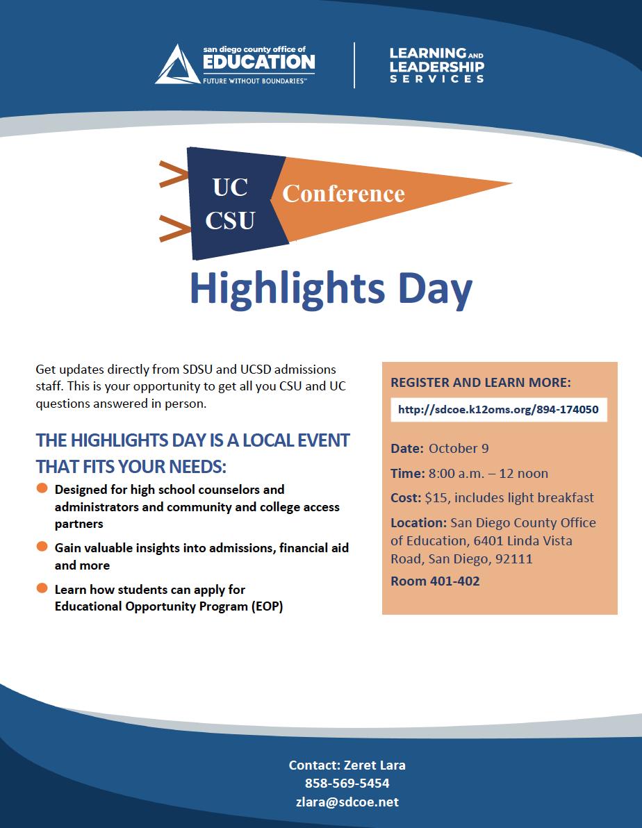 UC.CSU Highlights Day Flyer