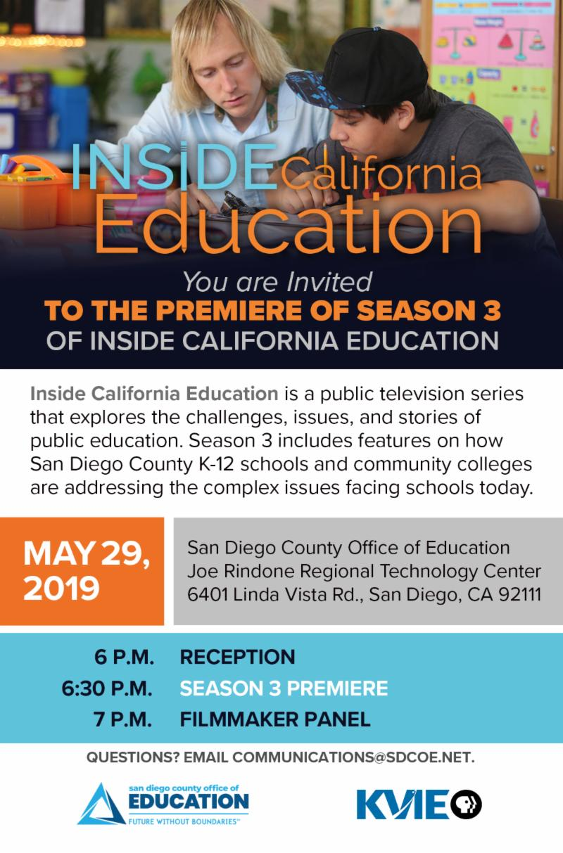 You're invited to a screening of the season 3 premiere of Inside California Education