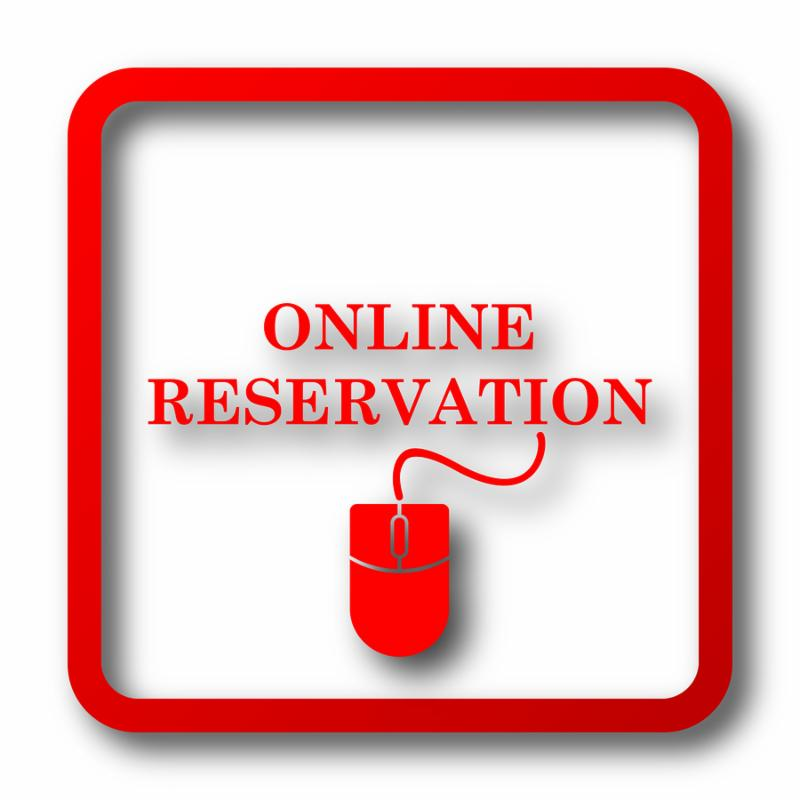 Online reservation icon. Internet button on white background.