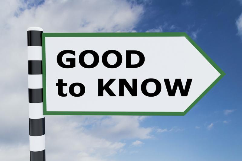 3D illustration of  GOOD to KNOW  script on road sign