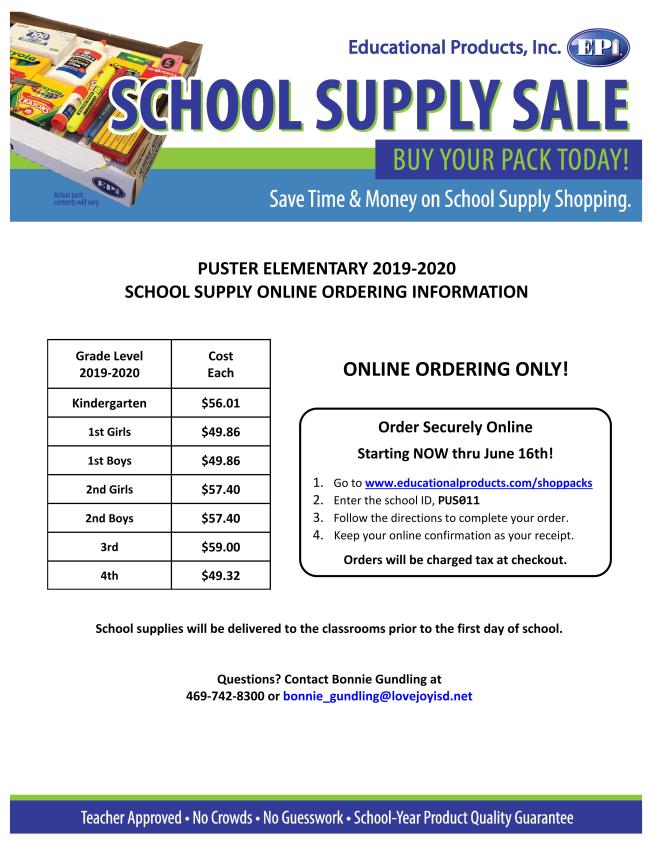 Puster School Supplies