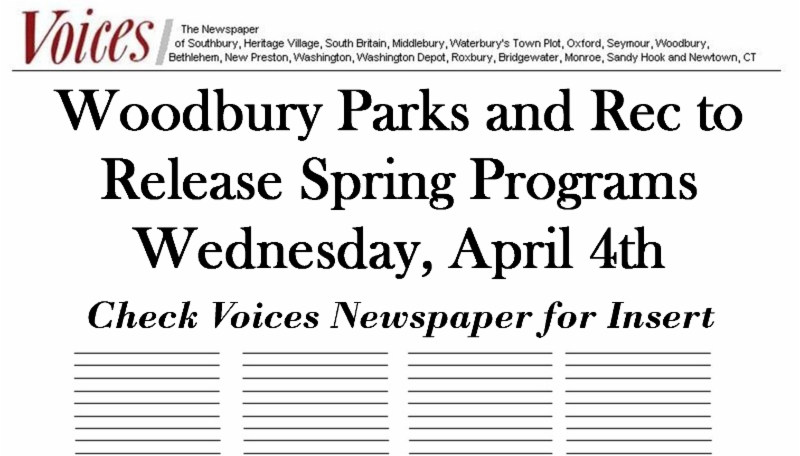 Woodbury Parks and Rec April Newsletter