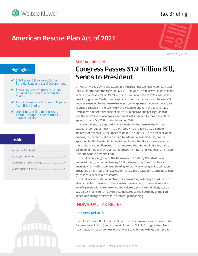 American Rescue Plan Act 2021