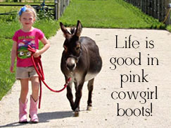 Life is good in pink cowgirl boots