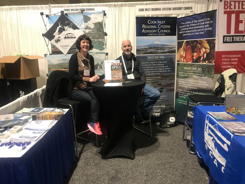 Betsi Oliver (PWSRCAC) and Mike Munger in our information booth.