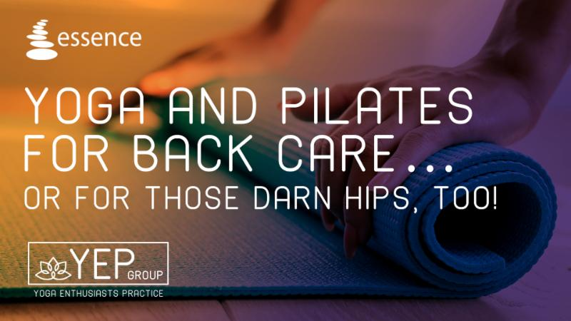 """Graphic Text of """"Yoga and Pilates for Backs and Hip too"""" YEP group."""