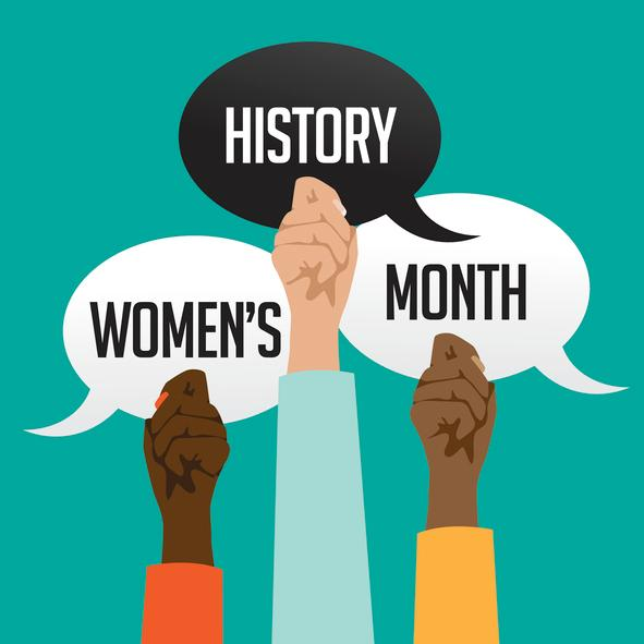 Women's history month design with multicultural hands stock illustration