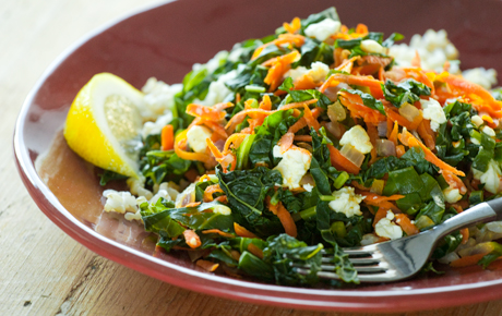 Winter Greens With Carrots, Feta Cheese and Brown Rice