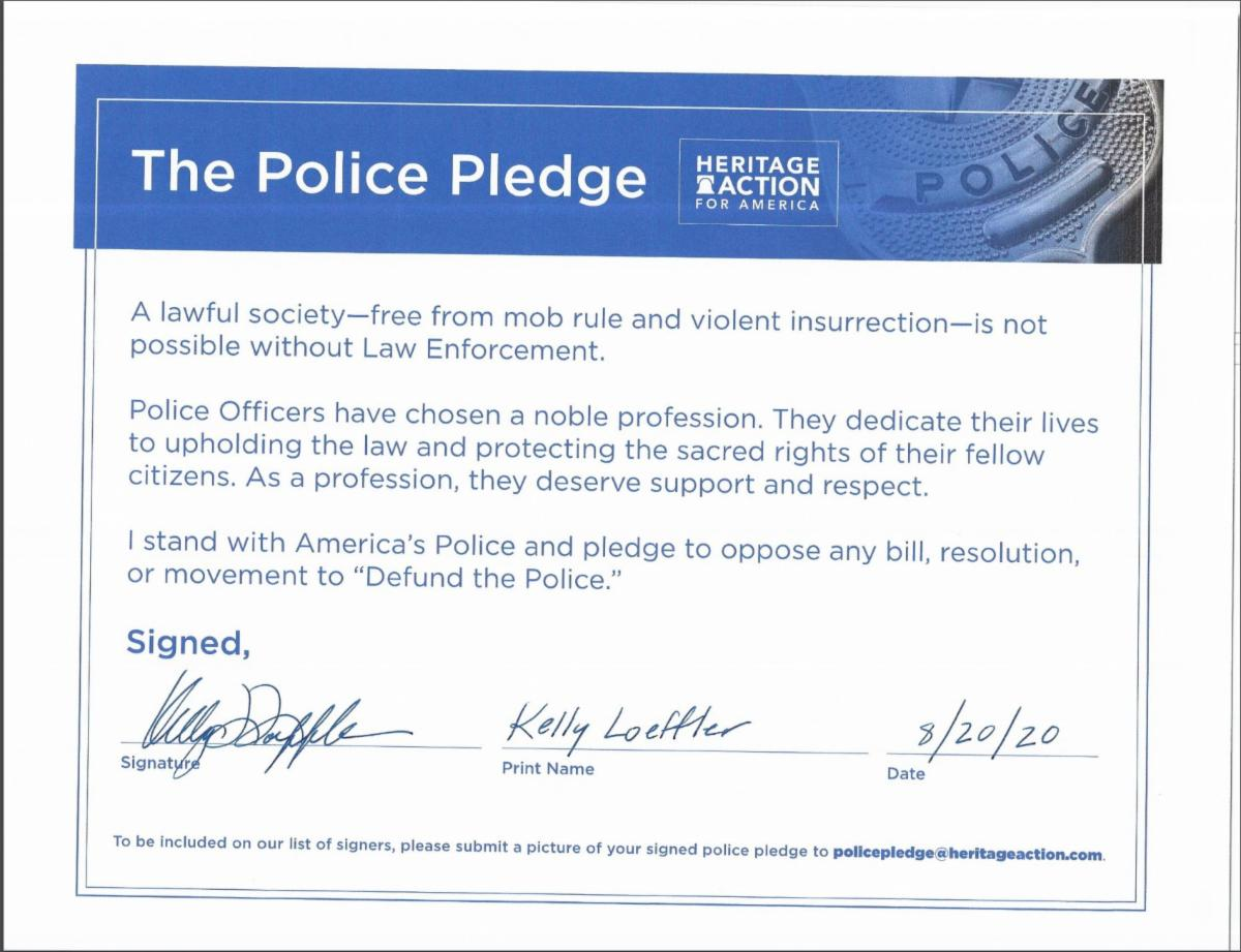 Kelly Loeffler Signed Heritage Action Police Pledge