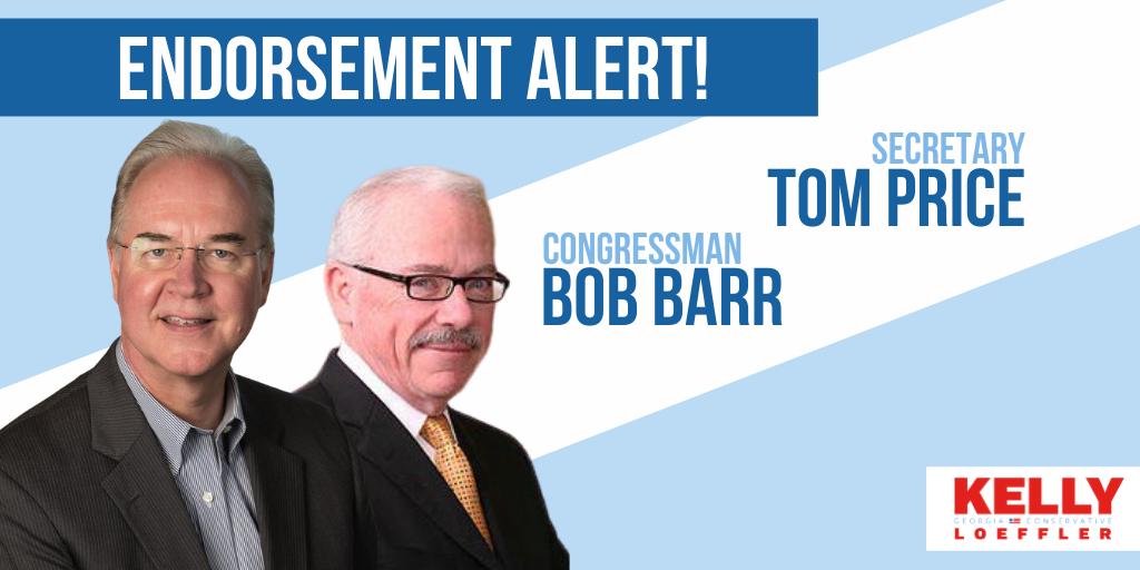 Secretary Tom Price, Congressman Bob Barr Endorse Kelly Loeffler