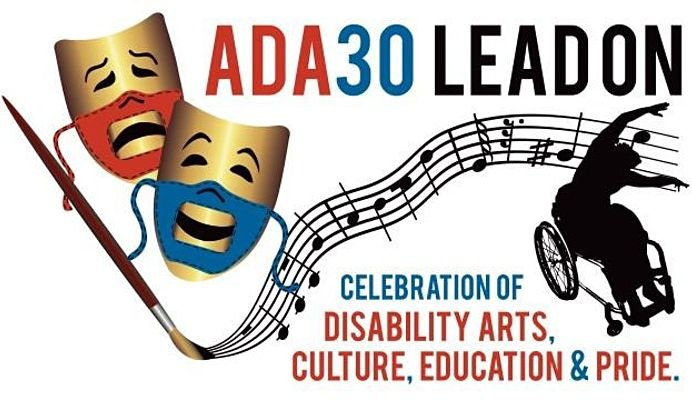 Two gold comedy and tragedy masks with red and blue accessible PPE face masks showing the smile of comedy and frown of tragedy, next to a paint brush that is creating a musical staff that ends with a dancer using a wheelchair. The words ADA30 LEAD ON top