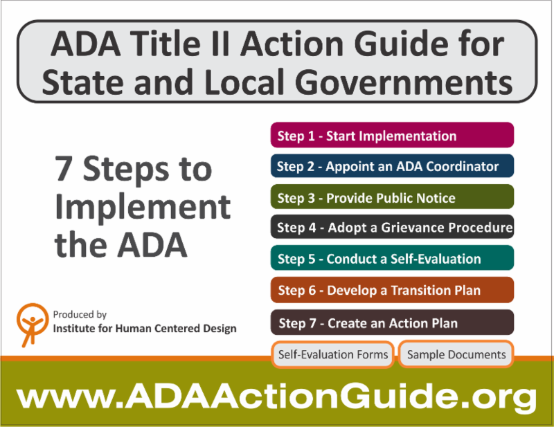ADA Title II Action Guide for State and Local Governments - 7 Steps to  Implement the ADA Graphic