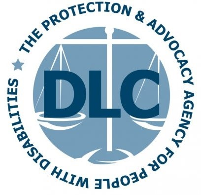 Disability Law Center, The protection & advocacy agency for people with disabilities. Text circles around a faded image of the scales of justice.
