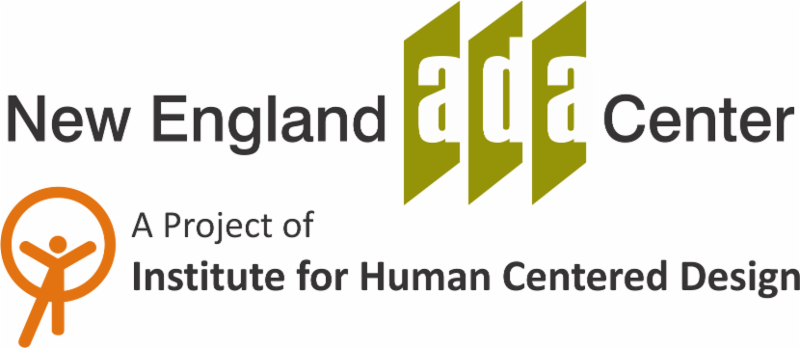 Logos of the New England ADA Center and a project of the Institute for Human Centered Design