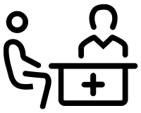 Line drawing of patient and doctor sitting at a desk.
