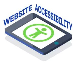 Web accessibility, text  surrounds a tablet with an image of a green stick figure with open arms.