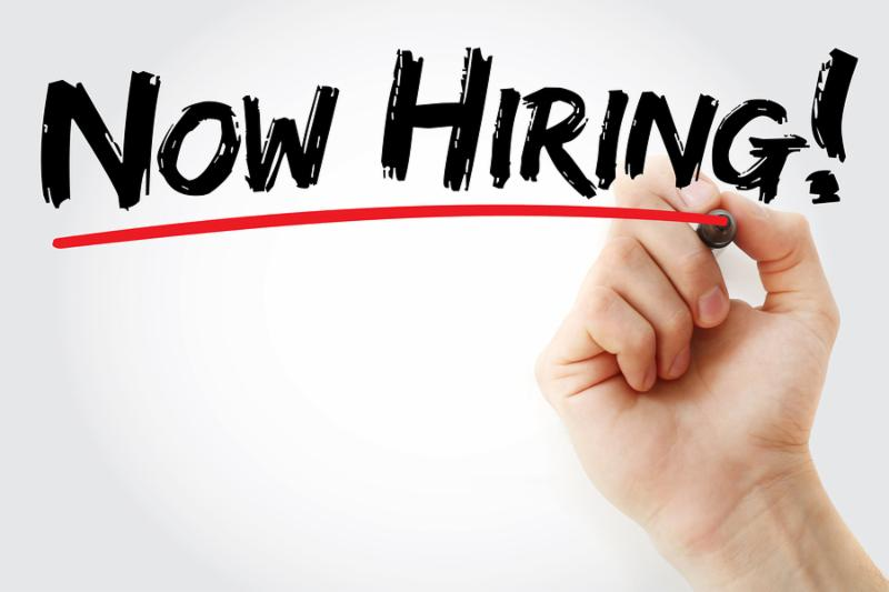Hand writing Now Hiring with marker business concept