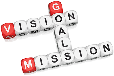 Graphic with words vision, goals, mission