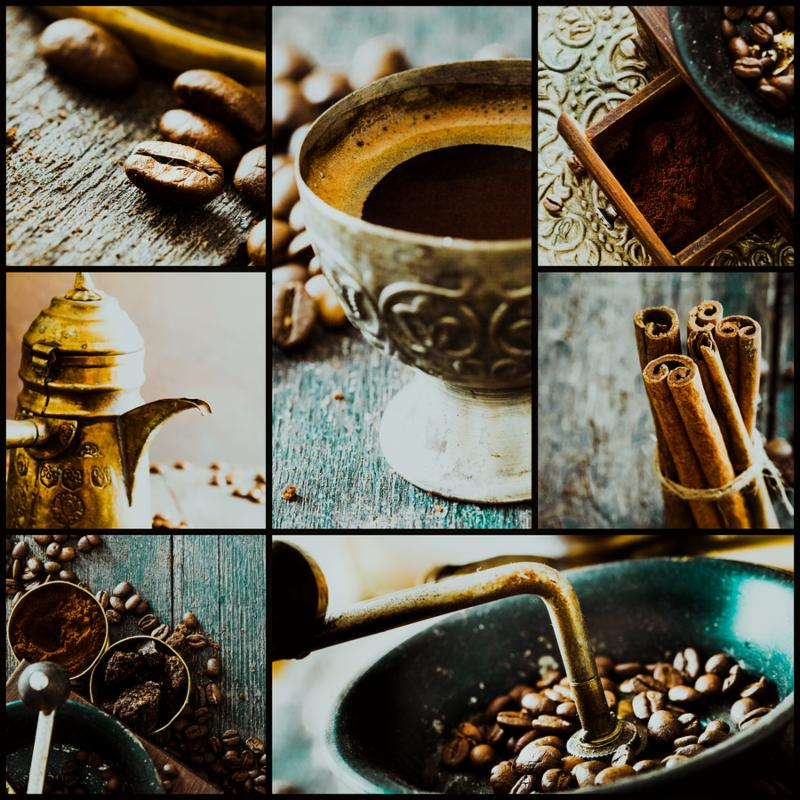 Collage of coffee details. Coffee antique grinder coffee beans and cup of coffee. Turkish traditional coffee