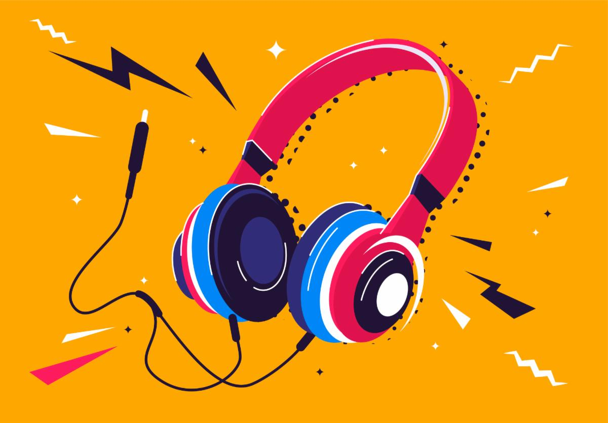Illustration. A pink and blue set of headphones is displayed on an orange backdrop.  Black and white zig-zag shapes are scattered around the headphones.